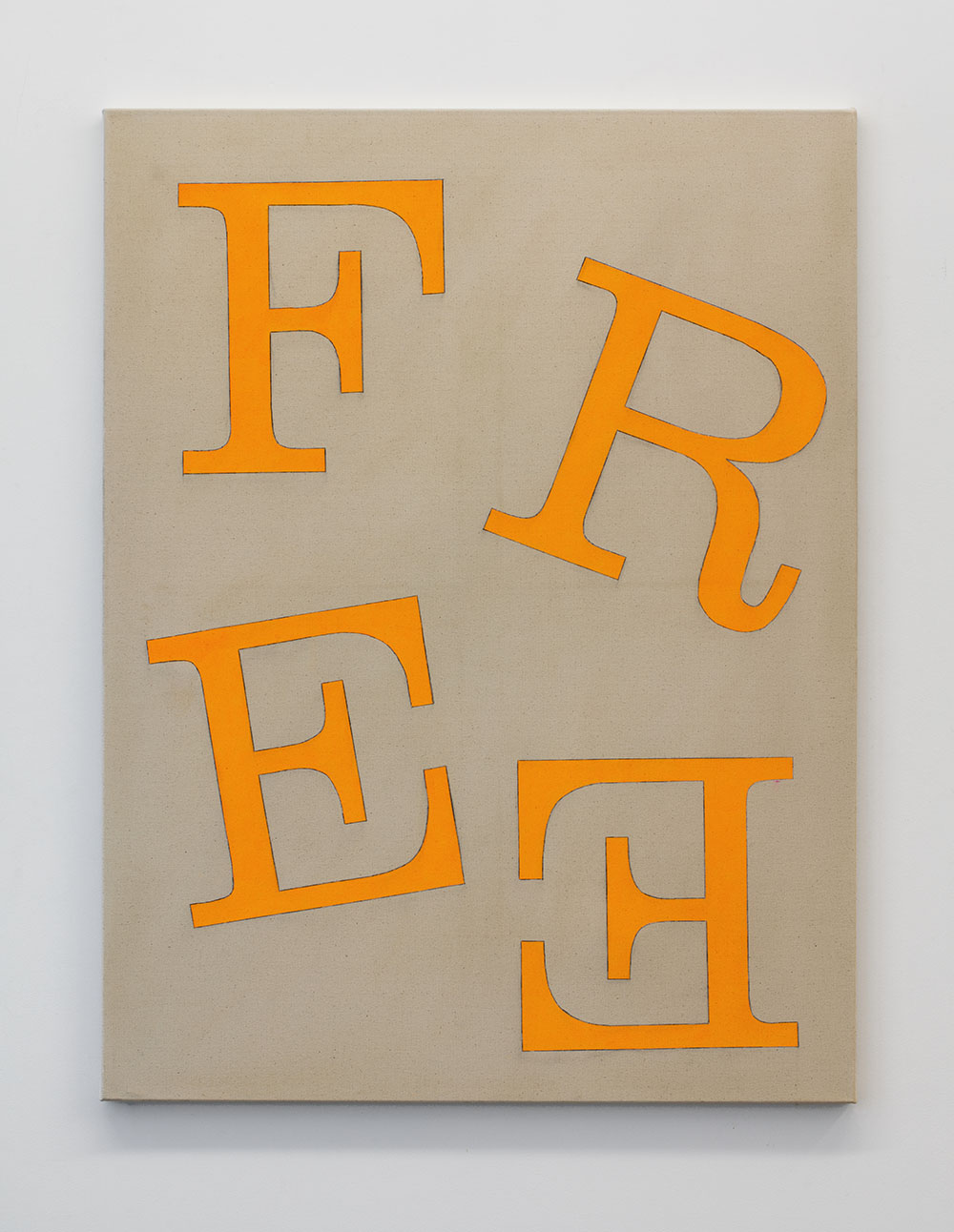 Dark beige canvas with tumbling serif letters spelling 'Free' in fluro orange