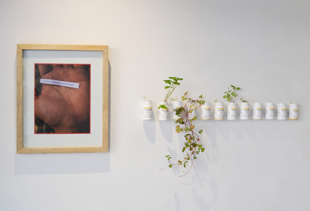 Installation shot with two artworks