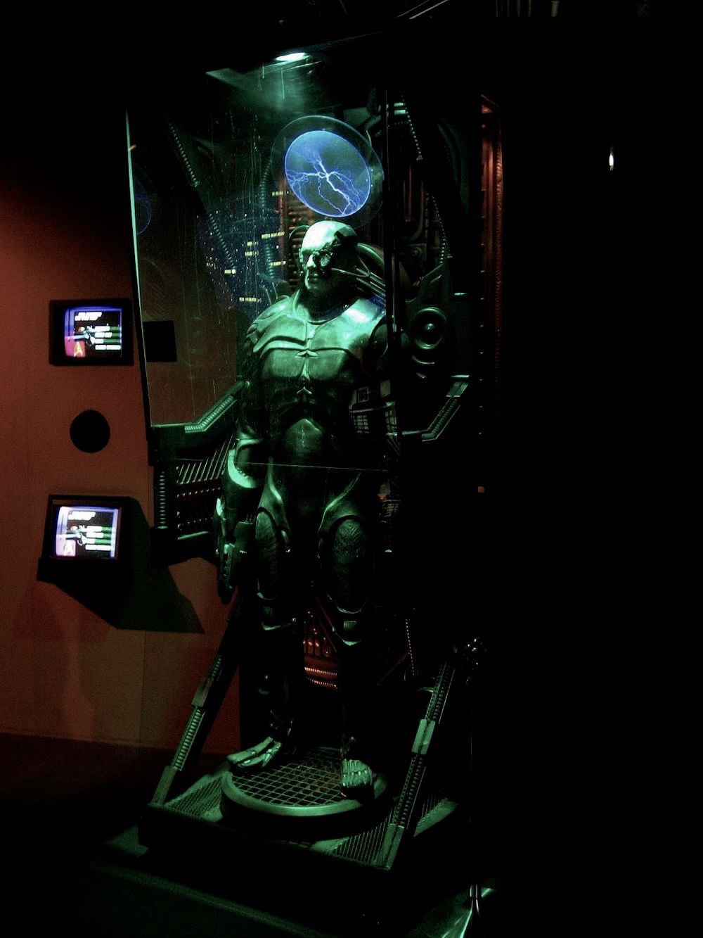 Capsule with the Star Trek character of a Borg, in a museum display